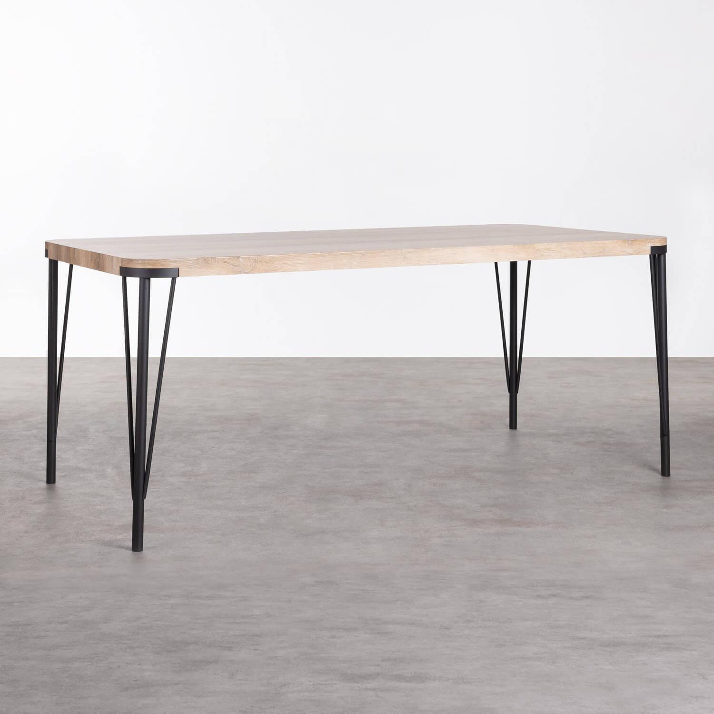 Table de Salle à manger Rectangulaire en MDF et Métal (180x90 cm) Brely, image de la gelerie 1