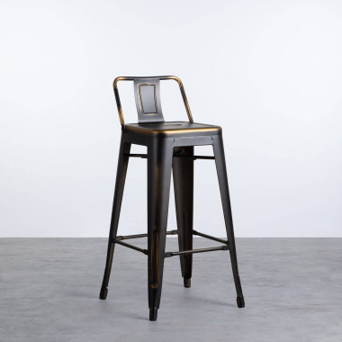 Tabouret Haut en Acier et Dossier Vecchio Industriel (68 cm)