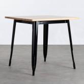 Table de Salle à Manger Carrée en Bois et Acier (80x80 cm) Industriel Fino, image miniature 1