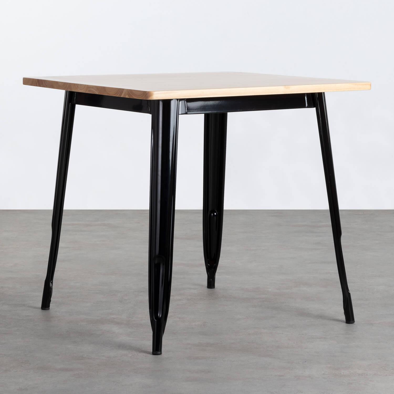 Table de Salle à Manger Carrée en Bois et Acier (80x80 cm) Industriel Fino, image de la gelerie 1