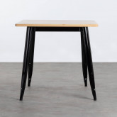Table de Salle à Manger Carrée en Bois et Acier (80x80 cm) Industriel Fino, image miniature 2