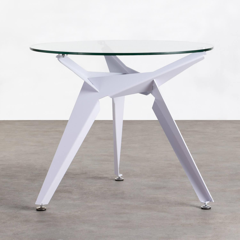 Table de Salle à manger Ronde en Verre et Métal (Ø90 cm) Semfy, image de la gelerie 1