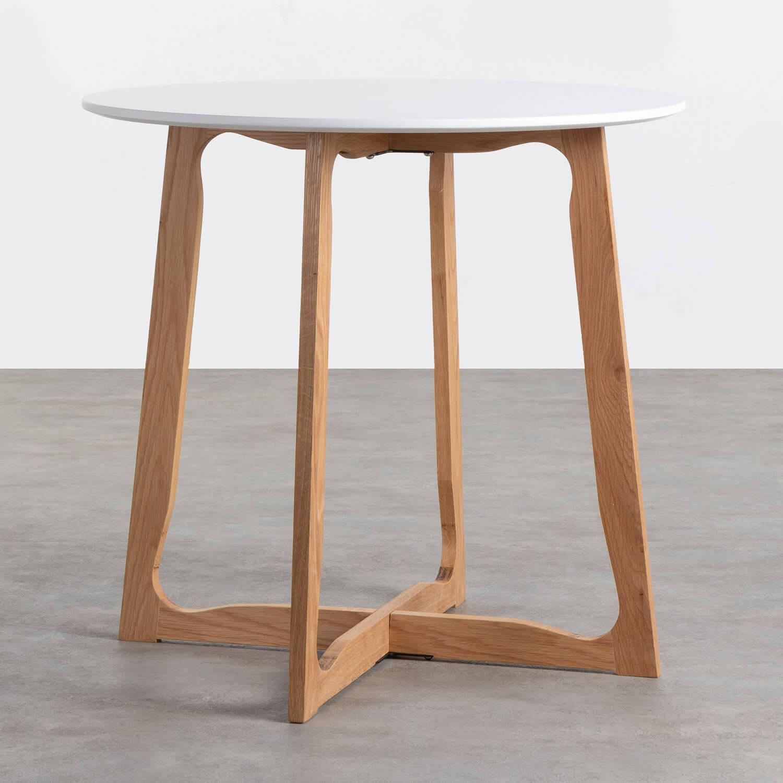 Table de Salle à manger Ronde en MDF et Bois (Ø80 cm) Tabit, image de la gelerie 1