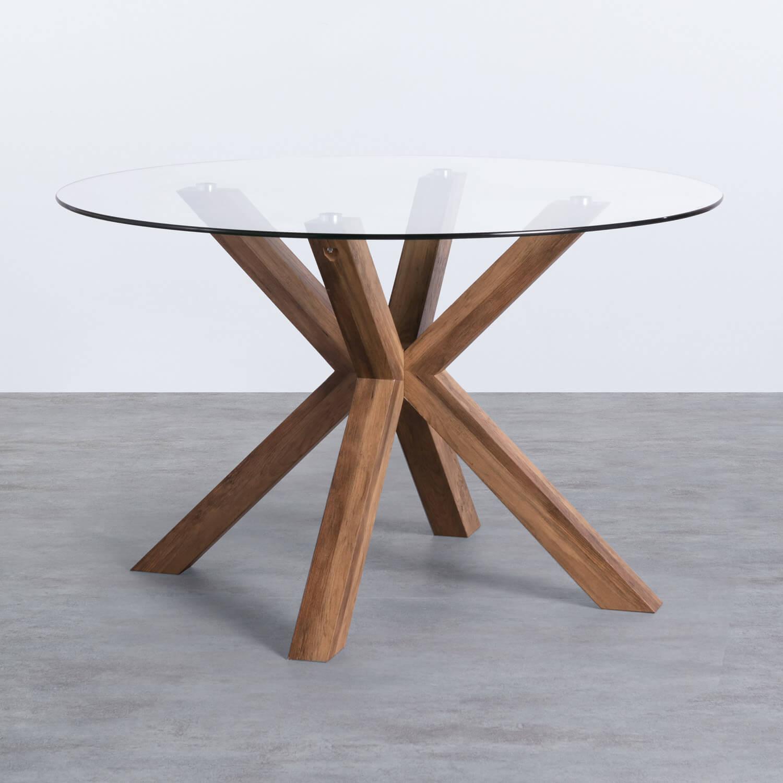Table de Salle à manger Ronde en MDF et Verre (Ø120 cm) Vuoto, image de la gelerie 1