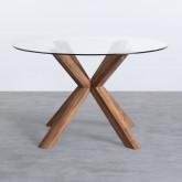 Table de Salle à manger Ronde en MDF et Verre (Ø120 cm) Vuoto, image miniature 2