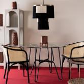 Table de Salle à manger en Verre Trempé et Métal Aldab ( Ø110 cm ), image miniature 2