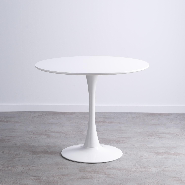 Table Ronde de Salle à manger en MDF et Métal (Ø90cm) Chess, image de la gelerie 1
