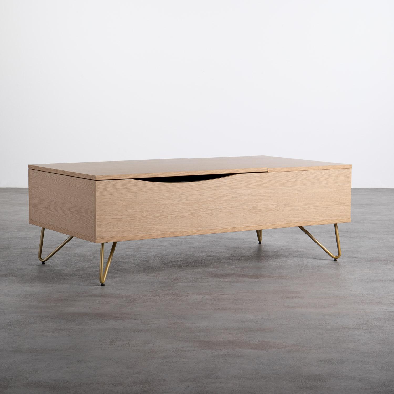 Table Basse Rectangulaire Relevable en Mélamine (110x86 cm) Mary, image de la gelerie 1