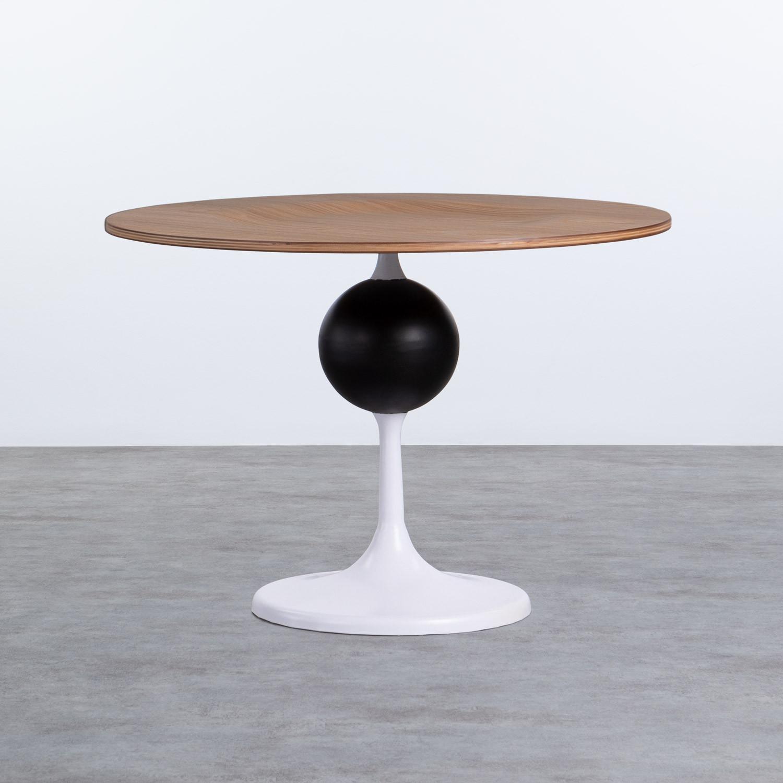 Table d'Appoint Ronde en MDF et Métal (Ø60cm) Linka, image de la gelerie 1