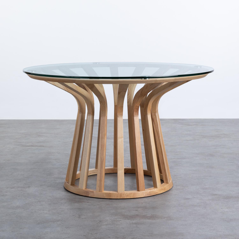 Table de Salle à manger en Bois et Verre (Ø120 cm) Roxet, image de la gelerie 1