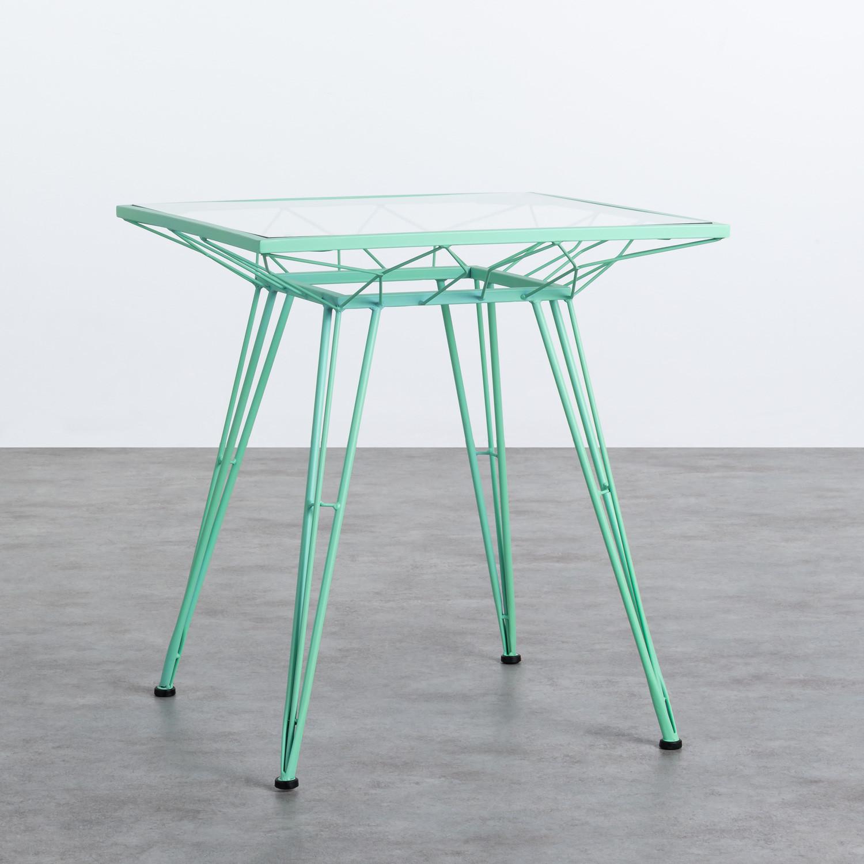 Table d'Extérieur Carrée en Acier et Verre (67,5x67,5 cm) Sagax, image de la gelerie 1