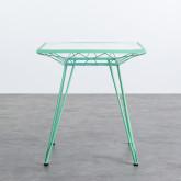 Table d'Extérieur Carrée en Acier et Verre (67,5x67,5 cm) Sagax, image miniature 3