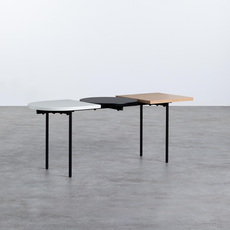 Table Basse 3 Plateaux en Bois et Acier (105x35 cm) Tri, image de la gelerie 1