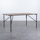 Table Rectangulaire de Salle à manger en MDF Chêne et Métal (160x90 cm) Hule, image miniature 1