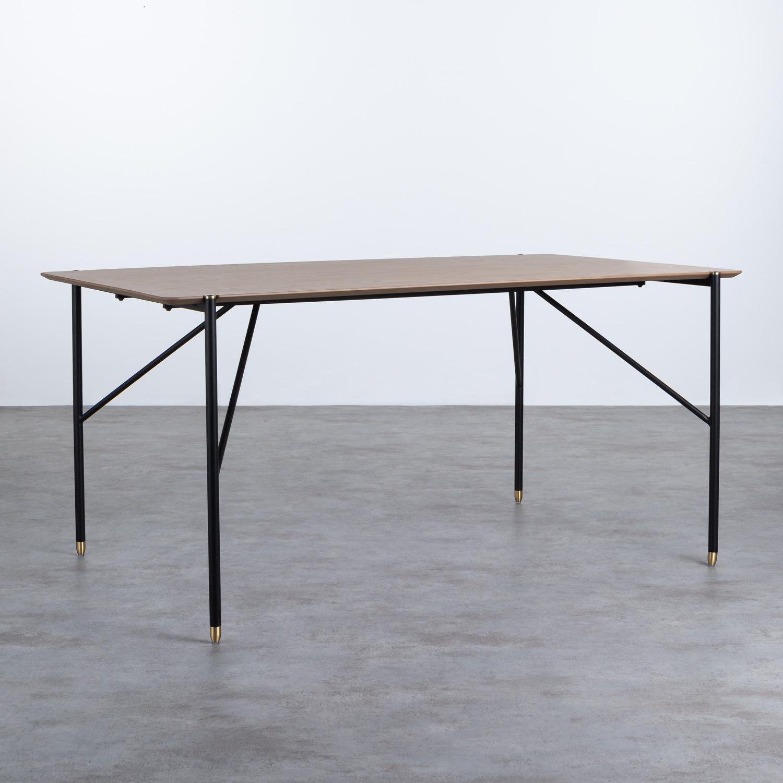 Table Rectangulaire de Salle à manger en MDF Chêne et Métal (160x90 cm) Hule, image de la gelerie 1