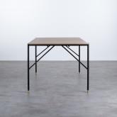 Table Rectangulaire de Salle à manger en MDF Chêne et Métal (160x90 cm) Hule, image miniature 3