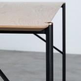 Table Rectangulaire de Salle à manger en MDF Chêne et Métal (160x90 cm) Hule, image miniature 5