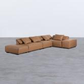 Canapé d'Angle à droite avec Pouf en Similicuir Broni, image miniature 1