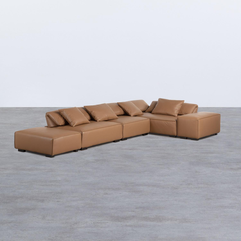 Canapé d'Angle à droite avec Pouf en Similicuir Broni, image de la gelerie 1