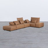 Canapé d'Angle à droite avec Pouf en Similicuir Broni, image miniature 2