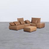 Canapé d'Angle à droite avec Pouf en Similicuir Broni, image miniature 3