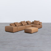 Canapé d'Angle à droite avec Pouf en Similicuir Broni, image miniature 4
