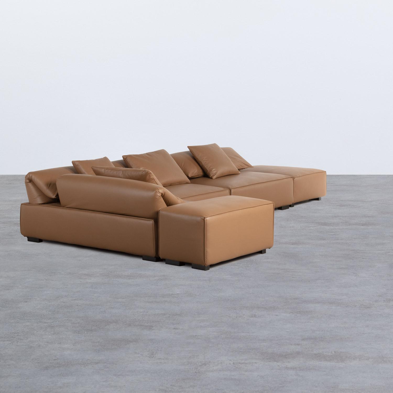 Canapé d'angle à Gauche avec Pouf en Similicuir Broni, image de la gelerie 1