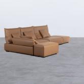 Canapé d'angle à Gauche avec Pouf en Similicuir Broni, image miniature 2