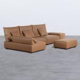 Canapé d'angle à Gauche avec Pouf en Similicuir Broni, image miniature 3