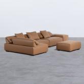 Canapé d'angle à Gauche avec Pouf en Similicuir Broni, image miniature 4