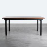 Table Rectangulaire de salle à manger en MDF de Chêne et Métal (180*90) Inset, image miniature 4