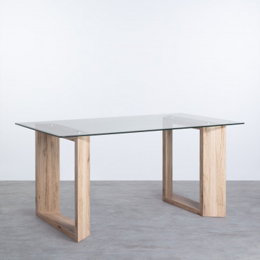 Table Rectangulaire de Salle à Manger en MDF et Verre (160x90 cm) Vetro