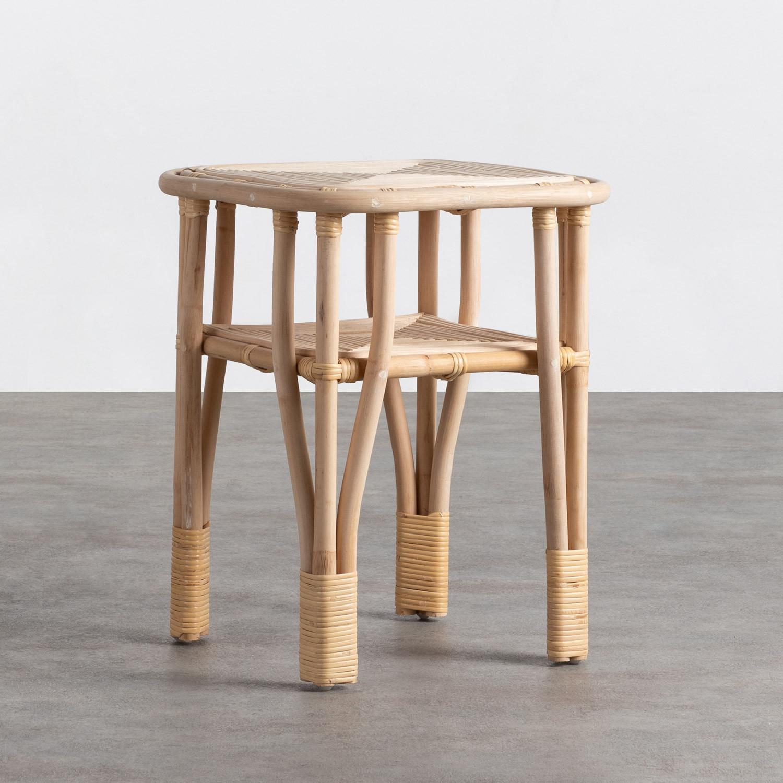 Tavolo Ausiliare Quadrato in Rattan Naturale (40x40 cm) Kida, immagine della galleria 1