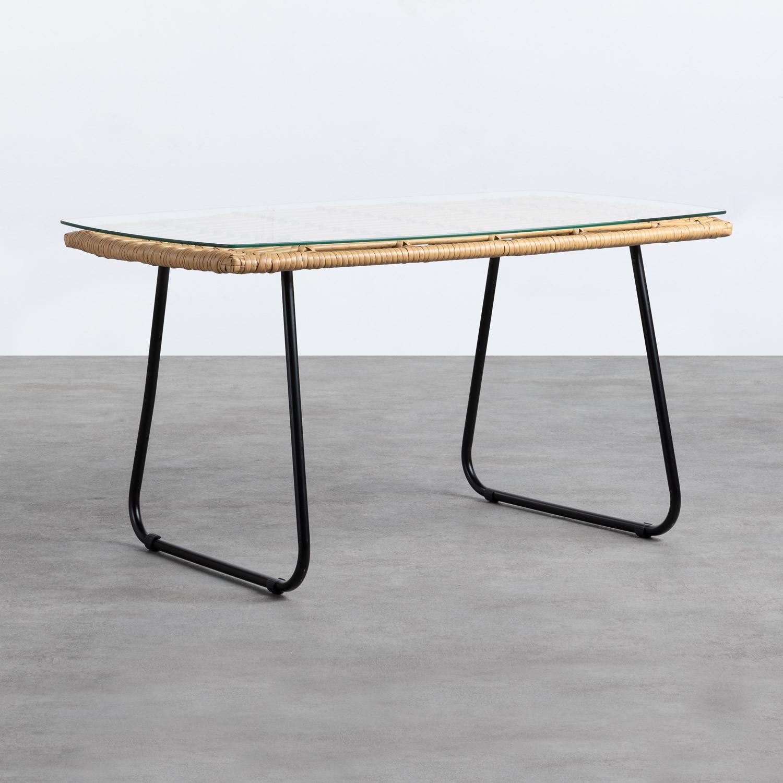 Tavolino Rettangolare in Rattan Sintetico e Cristallo (90x50 cm) Balar, immagine della galleria 1