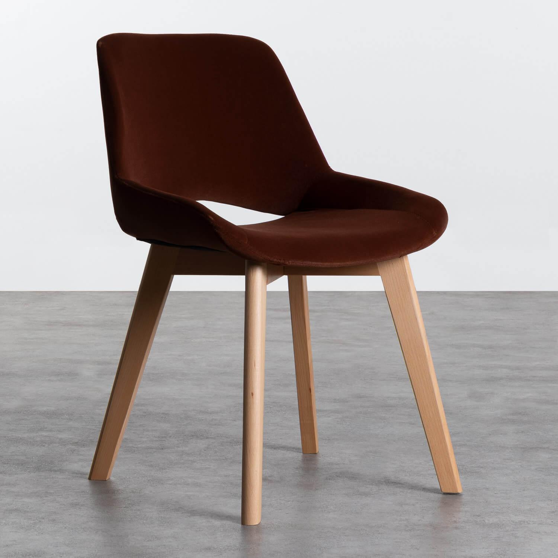 Sedia in Velluto e Legno Silas, immagine della galleria 1