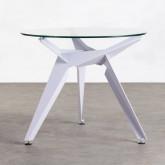 Tavolo da Pranzo Rotondo in Cristallo e Metallo (Ø90 cm) Semfy, immagine in miniatura 1