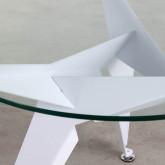 Tavolo da Pranzo Rotondo in Cristallo e Metallo (Ø90 cm) Semfy, immagine in miniatura 2