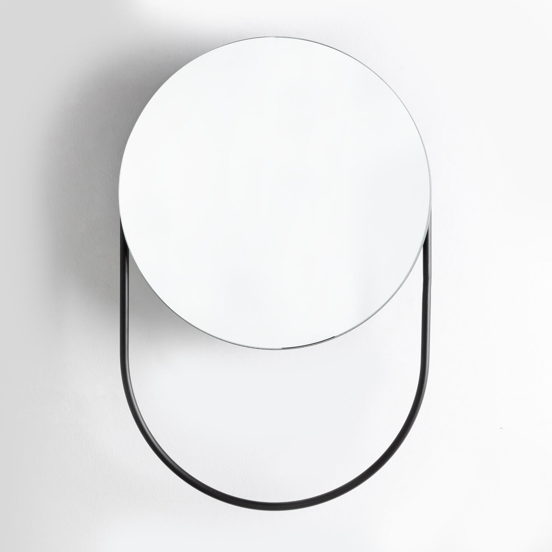Specchio da Parete con Contenitore e Portasciugamani in Acciaio (Ø50 cm) Mairin, immagine della galleria 1