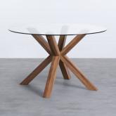 Tavolo da Pranzo Rotondo in MDF e Cristallo (Ø120 cm) Vuoto, immagine in miniatura 1