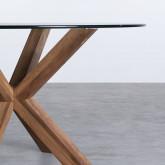 Tavolo da Pranzo Rotondo in MDF e Cristallo (Ø120 cm) Vuoto, immagine in miniatura 3