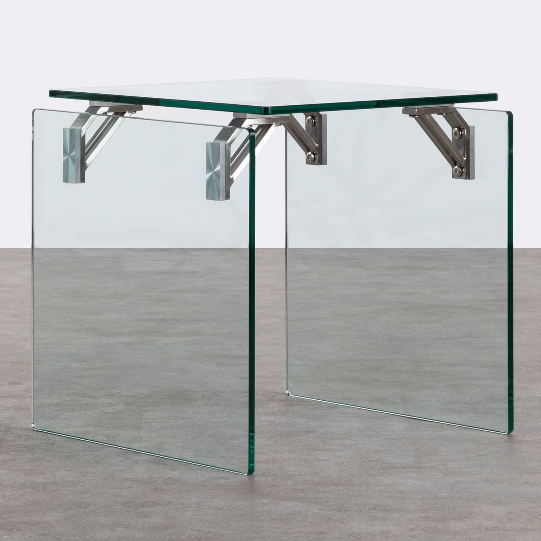 Tavolo Ausiliario Quadrato in Cristallo Temperato e Acciaio Inox (51x50 cm) Yera, immagine della galleria 1
