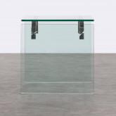 Tavolo Ausiliario Quadrato in Cristallo Temperato e Acciaio Inox (51x50 cm) Yera, immagine in miniatura 4