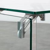 Tavolo Ausiliario Quadrato in Cristallo Temperato e Acciaio Inox (51x50 cm) Yera, immagine in miniatura 6