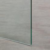 Tavolo Ausiliario Quadrato in Cristallo Temperato e Acciaio Inox (51x50 cm) Yera, immagine in miniatura 7