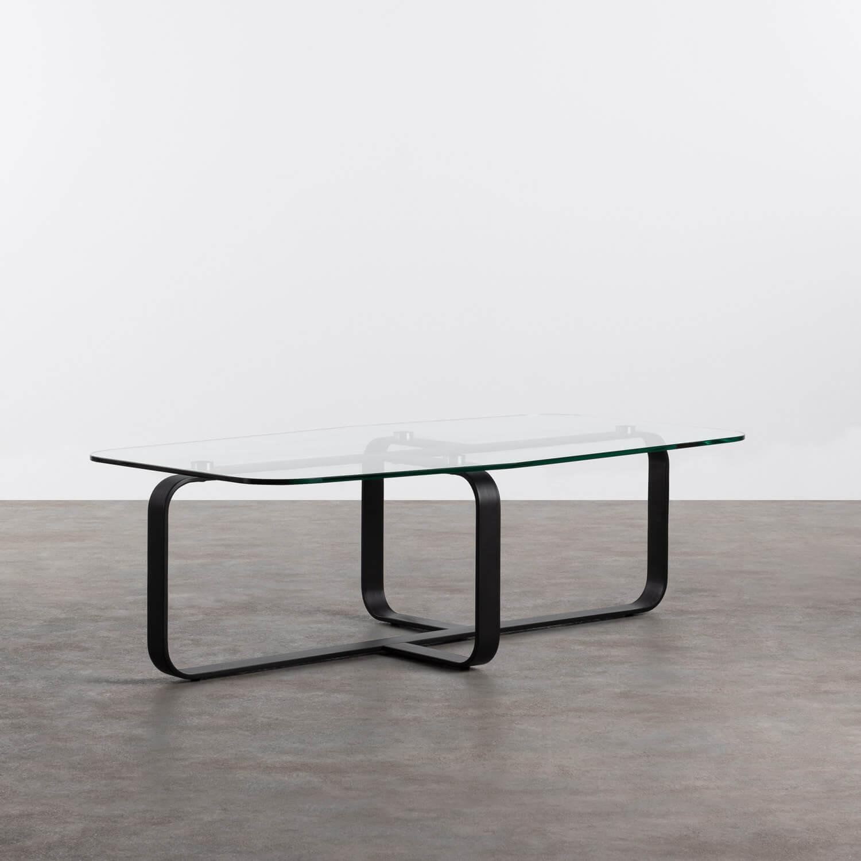 Tavolino Rettangolare in Cristallo Temperato e Acciaio (120x70 cm) Ruls, immagine della galleria 1