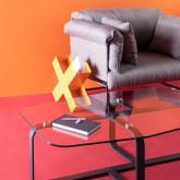 Tavolino Rettangolare in Cristallo Temperato e Acciaio (120x70 cm) Ruls, immagine in miniatura 2