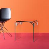 Tavolo Ausiliario Quadrato in Cristallo Temperato e Acciaio Inox (51x50 cm) Yera, immagine in miniatura 2