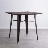 Tavolo da Pranzo in Olmo e Acciaio (80x80 cm) Industrial, immagine in miniatura 1