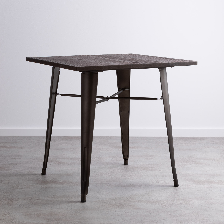 Tavolo da Pranzo in Olmo e Acciaio (80x80 cm) Industrial, immagine della galleria 1