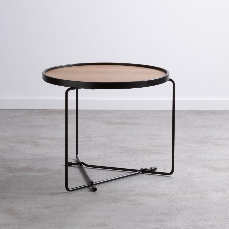 Tavolino da Caffé Rotondo in MDF e Metallo (Ø59 cm) Tempo, immagine della galleria 1